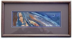"ORIGINAL PAINTING 8x16 framed NATIVE AMERICAN MAN ""New Moon"" by G Aikman Art Paintings, Original Paintings, Native American Men, New Moon, Native Americans, Lighthouse, Nativity, Portrait, Artist"