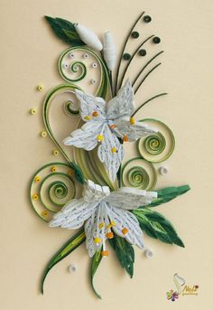 neli: Quilling card -white flowers