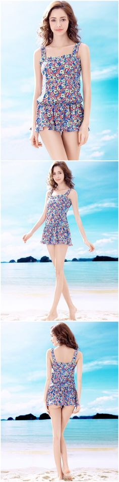Multicolored Daisy Floral Print Wide Strap Padded Top Conjoined Briefs One Piece Skirted Beach Dress Swimsuit
