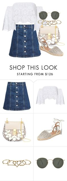 """""""*"""" by fashio-188 ❤ liked on Polyvore featuring AG Adriano Goldschmied, Miguelina, Chloé, Aquazzura, Zimmermann and Ray-Ban"""