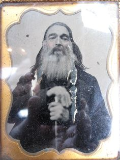 Antique Mountain Man Beard Unusual Pose Cane Staff Old 1 4 plt Ambrotype Photo   eBay