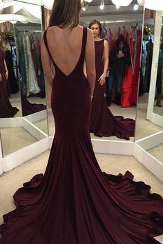 Elegant Mermaid Burgundy Sweep Train Prom Dress with Open Back