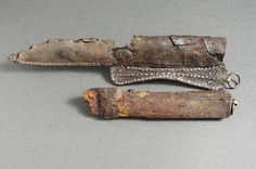 Knife was found in the neighbourhood Färgaren in the city of Lund. The sheath consists of shaped leather decorated with small silver rivets and a single bronze fitting for suspension to a belt. I believe the original is about 11th century CE.