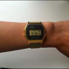 Casio Digital Watch Gold Stainless Casio Watch - Chronograph, alarm, 24 hour display, back light, calendar and water resistance, Fitted with a gold tone steel bracelet and a digital dial. Fully functional battery. Watch is in excellent condition! Swatch Accessories Watches