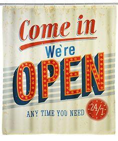 WENKO 21585100 Anti-Schimmel Duschvorhang Vintage Open - waschbar, 100 % Polyester, Mehrfarbig on Hipster Shop - Entdecken, teilen und sammeln erstaunliche Produkte mit Hipster-Shop.com