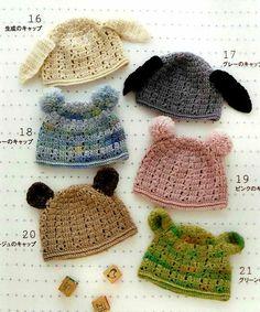 Scans de patrónes gráficos japoneses para hacer estos gorros para niños! Podemos usar esta base para hacer para adultos, no?La página está en portugués pero los patrones son scans de una revista japonesa.Post aquí.