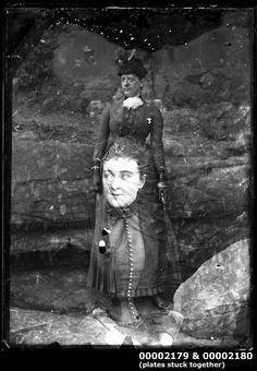 Two glass plate negatives stuck together, c 1900