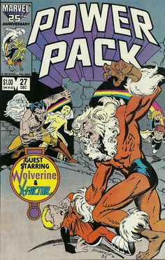 POWER PACK # 27...1986. MARVEL COMICS. WRITER: Louise Simonson. ARTIST: Jon Bogdanove. COVER PRICE: $1.00. CHARACTERS: Sabretooth, Tattletale (Franklin Richards), Wolverine, Destroyer, Molecular, Star Trek, Counter Weight. NOW PRICE: $6.00. CONDITION: Near Mint.