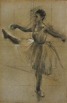 Dancer (Battement in Second Position) / Edgar Degas / 1874 / charcoal heightened with white and pale yellow chalk on paper Edgar Degas, Degas Drawings, Degas Paintings, Dancing Drawings, Degas Ballerina, Life Drawing, Figure Drawing, Ballerine Degas, Degas Dancers