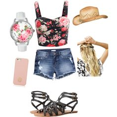 featuring polyvore, fashion, style, H&M, Volcom, Betsey Johnson, Tory Burch, maurices and Free People