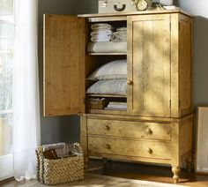 Armoire For Guest Room. Extra Blankets And Pillows, Whatever They Need Is  There · Linen StorageTv ...
