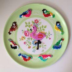 Birds decoration hama mini beads by lonbondesign Pearler Bead Patterns, Perler Patterns, Pearler Beads, Loom Beading, Beading Patterns, Hama Art, Hama Mini, Iron Beads, Beaded Animals