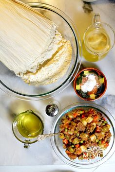 tamales with oil for tamales with butter 1 lb butter or margarine, softened 5 lbs. fresh masa (unprepared) 2 to 3 cups stock (chicken, pork, beef or vegetable) 2 Tbsp. salt (or less to taste) Healthy Dishes, Healthy Dinner Recipes, Mexican Food Recipes, Breakfast Recipes, Vegan Recipes, Healthy Eating, Cooking Recipes, Ethnic Recipes, Mexican Dinners