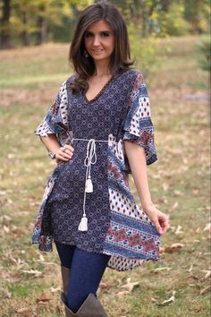 Umgee Taupe Mix Printed Tie Back Tunic Dress