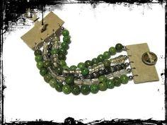 Bracelet 5 Strand Magnesite and Glass Beads Leather Hemp Button | ChristinaKosinskiDesigns - Jewelry on ArtFire