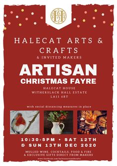 Artisan Christmas Fayre at Halecat House, Witherslack - Janette Phillips Art Courses, Mulled Wine, Floral Watercolor, Art Pieces, Artisan, Arts And Crafts, Journal, Christmas, Gifts