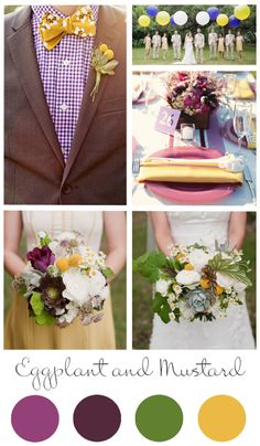 Eggplant and Mustard Wedding color palette