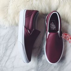 Vans Port Wine Perforated Leather Slip Ons •Port wine perforated leather Vans classic slip ons  •Women's size 6.5  •New in box.  •NO TRADES/PAYPAL/MERC/HOLDS/NONSENSE. Vans Shoes Sneakers