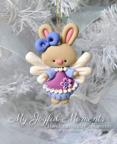 Handcrafted Polymer Clay Bunny Angel Ornament by MyJoyfulMoments