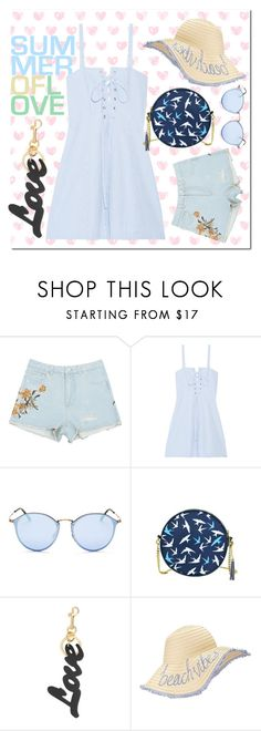 """""""blue in beach"""" by chicatory ❤ liked on Polyvore featuring Solid & Striped, Ray-Ban, STELLA McCARTNEY, Miss Selfridge, beachday, casualoutfit and summerstyle"""