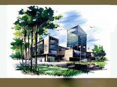 New landscape design rendering perspective 21 ideas Landscape Architecture Drawing, Architecture Concept Drawings, Watercolor Architecture, Architecture Sketchbook, Landscape Sketch, Urban Landscape, Art And Architecture, Landscape Design, Perspective Art