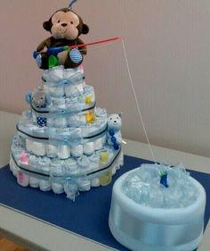 Baby shower themes for boys fishing diaper cakes 43 ideas Baby Shower Cakes, Fiesta Baby Shower, Baby Shower Diapers, Baby Shower Themes, Baby Shower Gifts, Shower Ideas, Baby Gifts, Diaper Cake Boy, Nappy Cakes