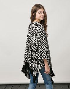 Wijd vest BSK, jacquard met franjes aan de onderkant - Blazers & Kimonos - Bershka Netherlands