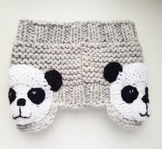 Panda Headband Knit Headband Ear Warmer Head Wrap Girls - Annette Home Head Wrap Headband, Diy Headband, Knitted Headband, Knitting For Kids, Hand Knitting, Crochet Bear, Crochet Hats, Head Band, Kids Outfits Girls
