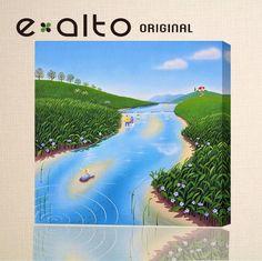 「風景画イラスト」川家族水遊び河原赤い屋根の家青空自転車青い花