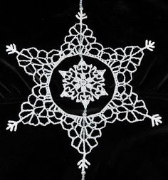 Ravelry: Snowflake Inside a Snowflake pattern by Deborah Atkinson Crochet Christmas Ornaments, Holiday Crochet, Snowflake Ornaments, Christmas Snowflakes, Snowflake Snowflake, Christmas Knitting, Crochet Angels, Crochet Stars, Thread Crochet