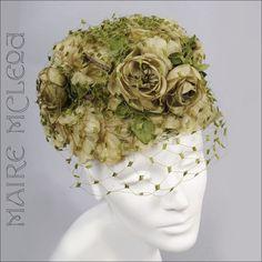 1950s Floral Toque Hat *Roses, Net *Soft Greens$80.00