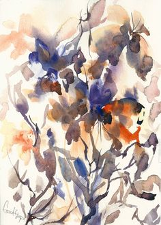 Original Watercolor Painting Abstract Painting Floral by CanotStop