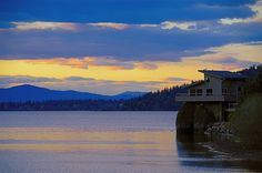 free wallpaper and screensavers for scenic Lake Cabins, Coeur D'alene, The Other Side, River, Fantasy, Mountains, Sunset, Wallpaper, Cabin Ideas