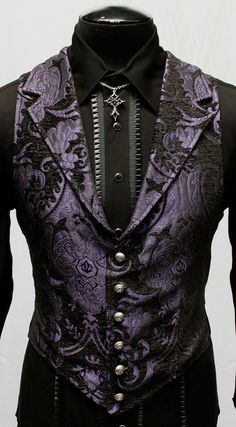 VICTORIAN ARISTOCRAT VEST - PURPLE/BLACK TAPESTRY