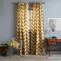 Thinking this chevron pattern will look great in my living room - - Cotton Canvas Zigzag Curtain - Maize Chevron Curtains, Gold Curtains, Bedroom Curtains, Playroom Curtains, Canvas Curtains, Geometric Curtains, Patterned Curtains, Yellow Curtains, Printed Curtains