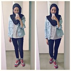 Syaifiena W - New Balance Sneakers, Uniqlo Jeans, H&M Tanktop, Pinkemma Shirt - Stripes!