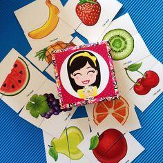 """""""Pia Polya İki Parçalı Meyve Görsellerini Tamamlama Kartları"""" 18 ay ve 28 ay yaş arası çocuklar için uygundur. A3"""