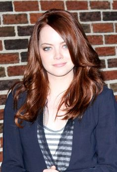 "I loved her in ""The Help"" and in ""Easy A"". Both characters were of people I could easily be friends with. Ash Blonde Ombre Hair, Dark Brunette Hair, Hair Color Balayage, Hair Color Auburn, Auburn Hair, Hair Color Dark, Vintage Hairstyles, Trendy Hairstyles, Emma Stone Hair"