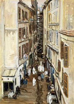 Henri Hourtal (1877 /1944) Titr « Alger, la rue d'Orléans dans le quartier de la marine »