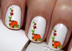 20 pc Happy Harest Pumpkin Fall Season Fall Leaves Nail Art Nail Decals #cg62na