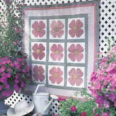 Pink Dogwood Quilt Pattern | Quilt designed by Nancy Mahoney.Size: 43' x 43'Appliquéd dogwood ...