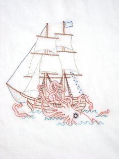 Kraken vs. Ship Hand Embroidery Pattern PDF. $5.00, via Etsy.