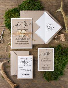 Rustikale Hochzeitseinladungen 20 Stück /01A/CG/z   Inhalt: 20 Stück   Jeder Einladung Set enthält:  * 1 Einladungskarte 240 lb Abdeckung   * k15-Umschlag  * RSVP Karte 240 lb...
