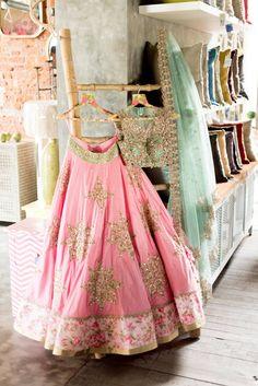 Pink Lehenga by Anushree Reddy Indian Bridal Wear, Indian Wedding Outfits, Indian Wear, Indian Outfits, Red Lehenga, Lehenga Choli, Anarkali, Bridal Lehenga, Floral Lehenga