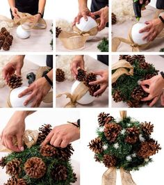 Unique Christmas Ornaments, Christmas Swags, Easy Christmas Crafts, Christmas Scenes, Christmas Projects, Simple Christmas, Pine Cone Decorations, Outdoor Christmas Decorations, Holiday Decor