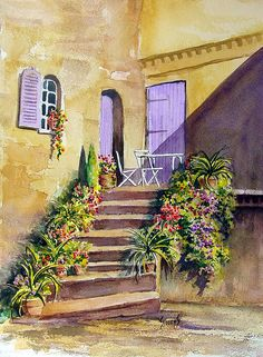 Crooked Steps And Purple Doors Painting by Sam Sidders - Crooked Steps And Purple Doors Fine Art Prints and Posters for Sale