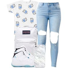 A fashion look from March 2015 featuring white t shirt, retro shoes and JanSport. Browse and shop related looks.