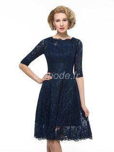 e9ae884c4dcc0 fournitures de airmode.frmariage décolleté demi - manches glamour et  spectaculaire robe poche bleue du printemps La Mère de La Mariée Au Genou