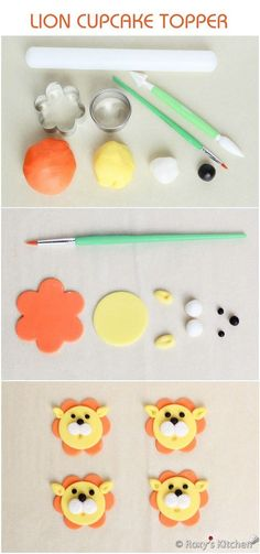Tutorial with Step by Step Instructions & Photos - How to Make a Fondant Lion Cupcake Topper / Safari Jungle Animals Birthday Party