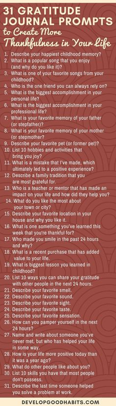 These 31 Gratitude Journal Prompts can help you start practicing gratitude to turn it into a daily habit by committing to daily gratitude journaling. #mindfulness #mindfulmondays #selfcare #selfhelp #selflove #inspiration #motivation #wellness #healthyhabits #infographic #journaling #journal #gratitude #grateful
